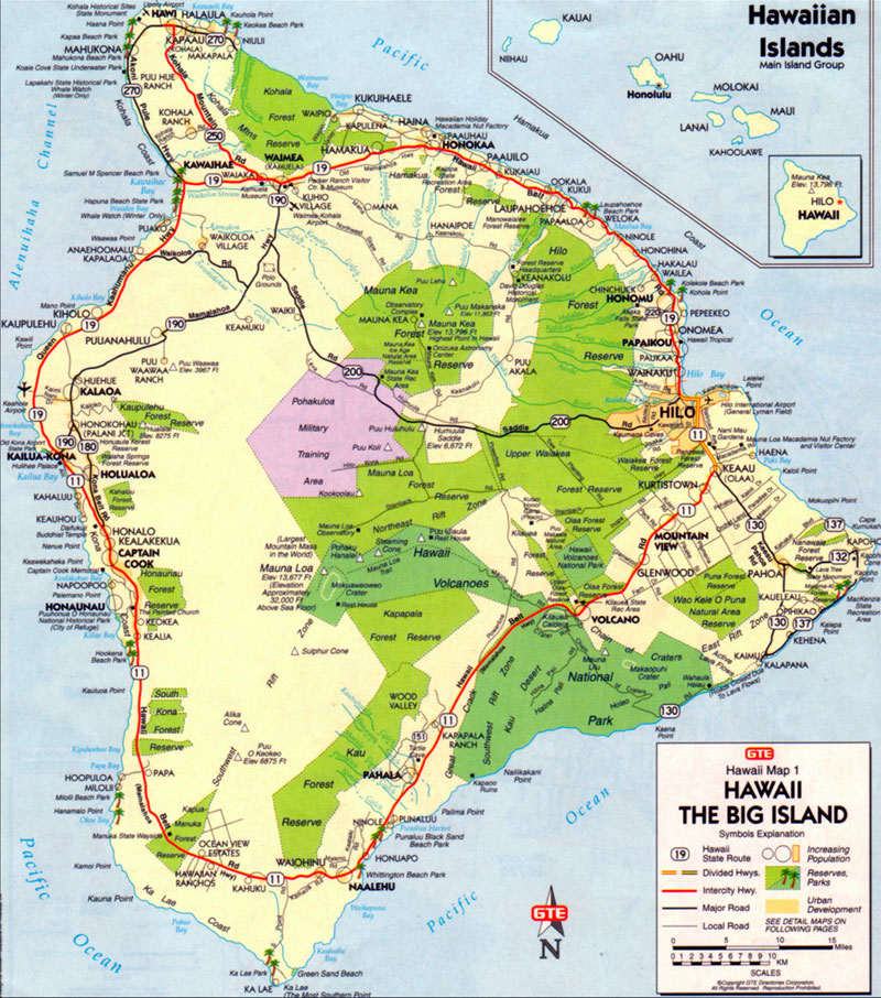 Big Island Map Map of the Big Island of Hawaii