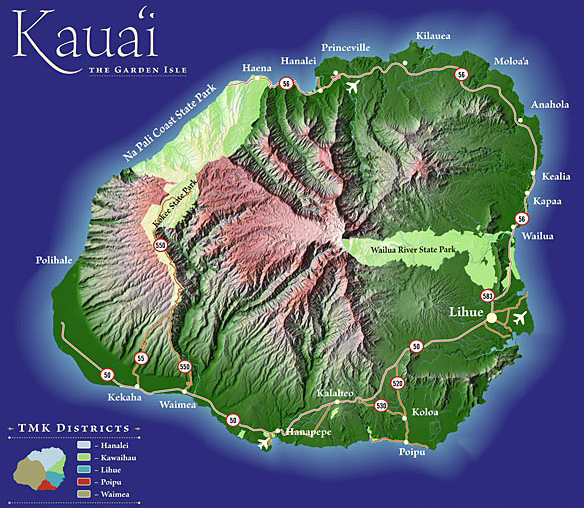Kauai Map Map of the Kauai of Hawaii