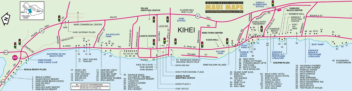 Map of Kihei, Maui Detailed Map Of Maui on